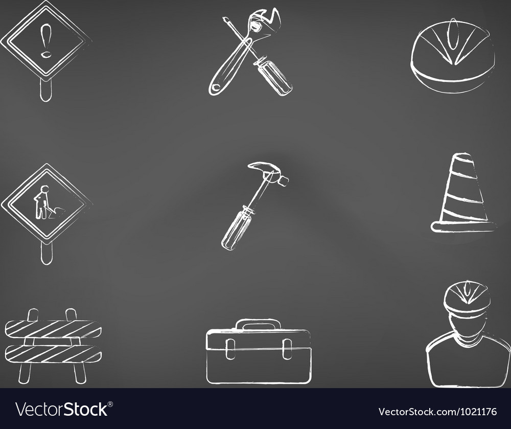 Blackboard Construction icons vector image