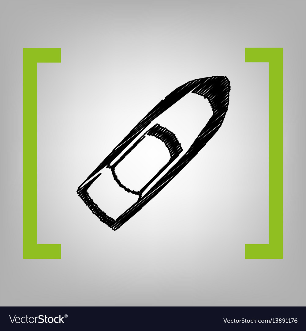 Boat sign black scribble icon in citron vector image