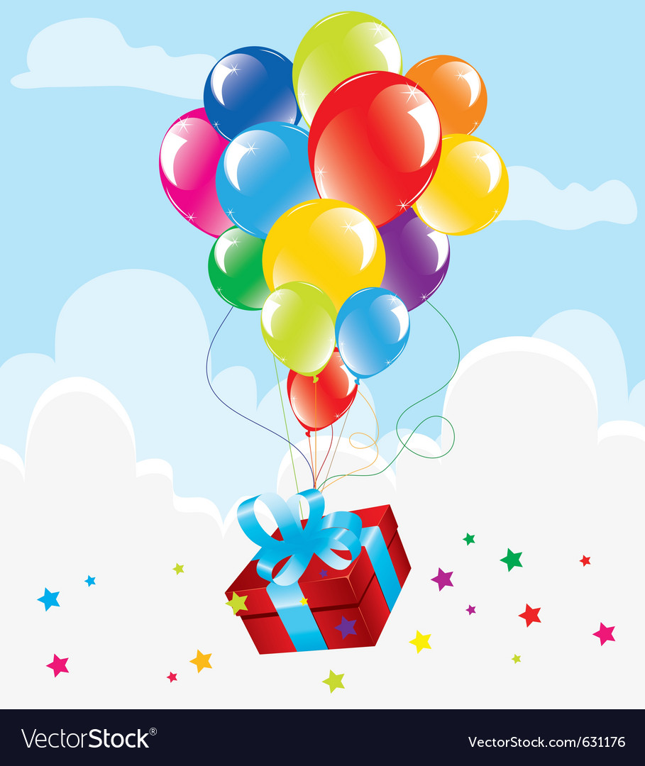 Bunch of colorful balloons and a gift