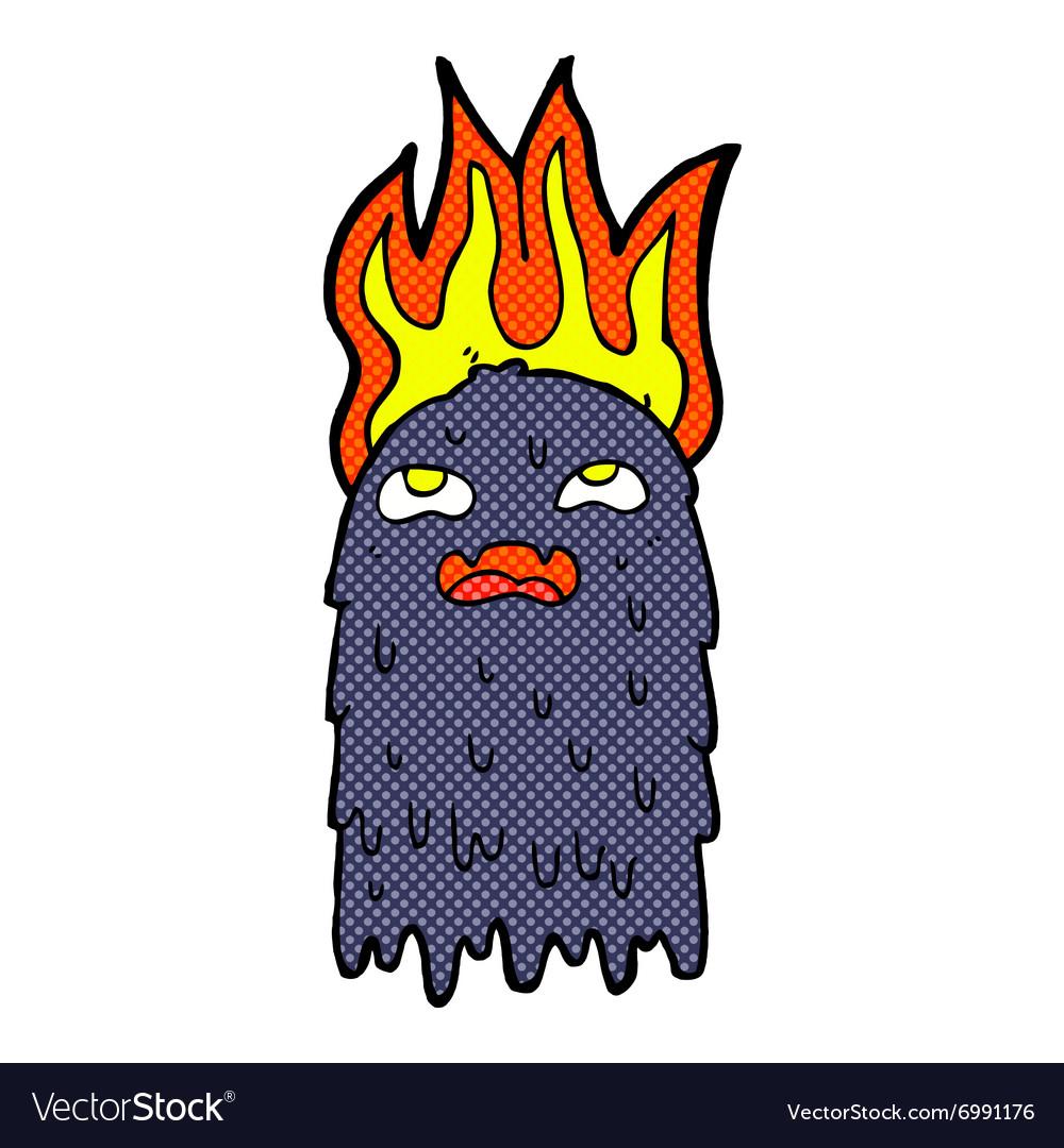 Burning comic cartoon ghost