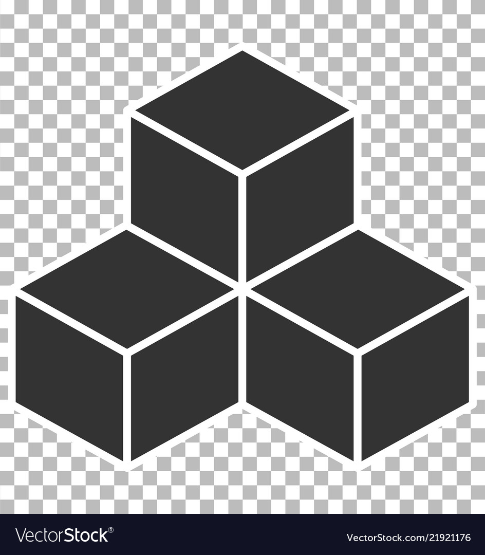 Cube icon on transparent background flat style