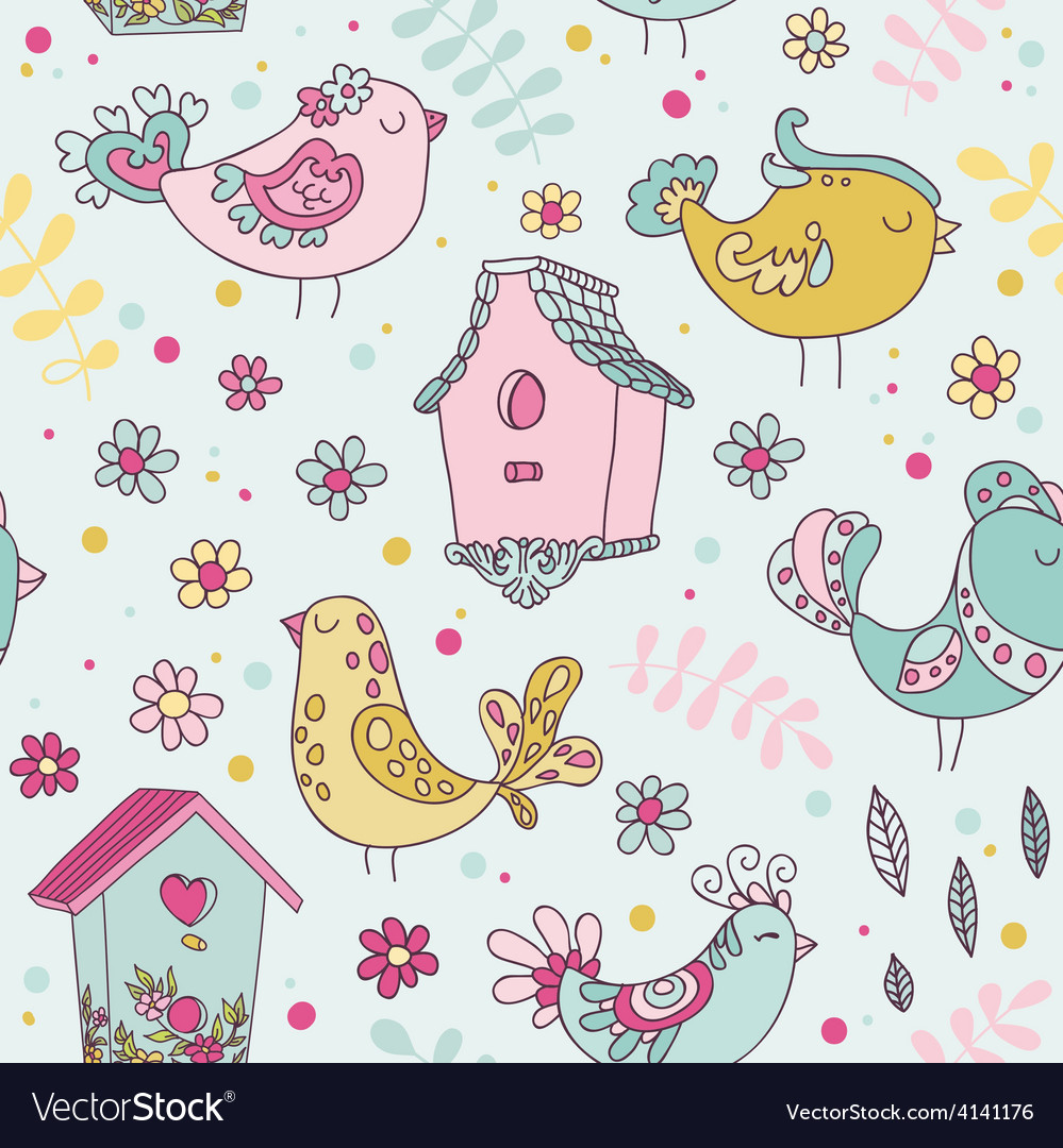 Cute Birds and Birds Houses Background vector image