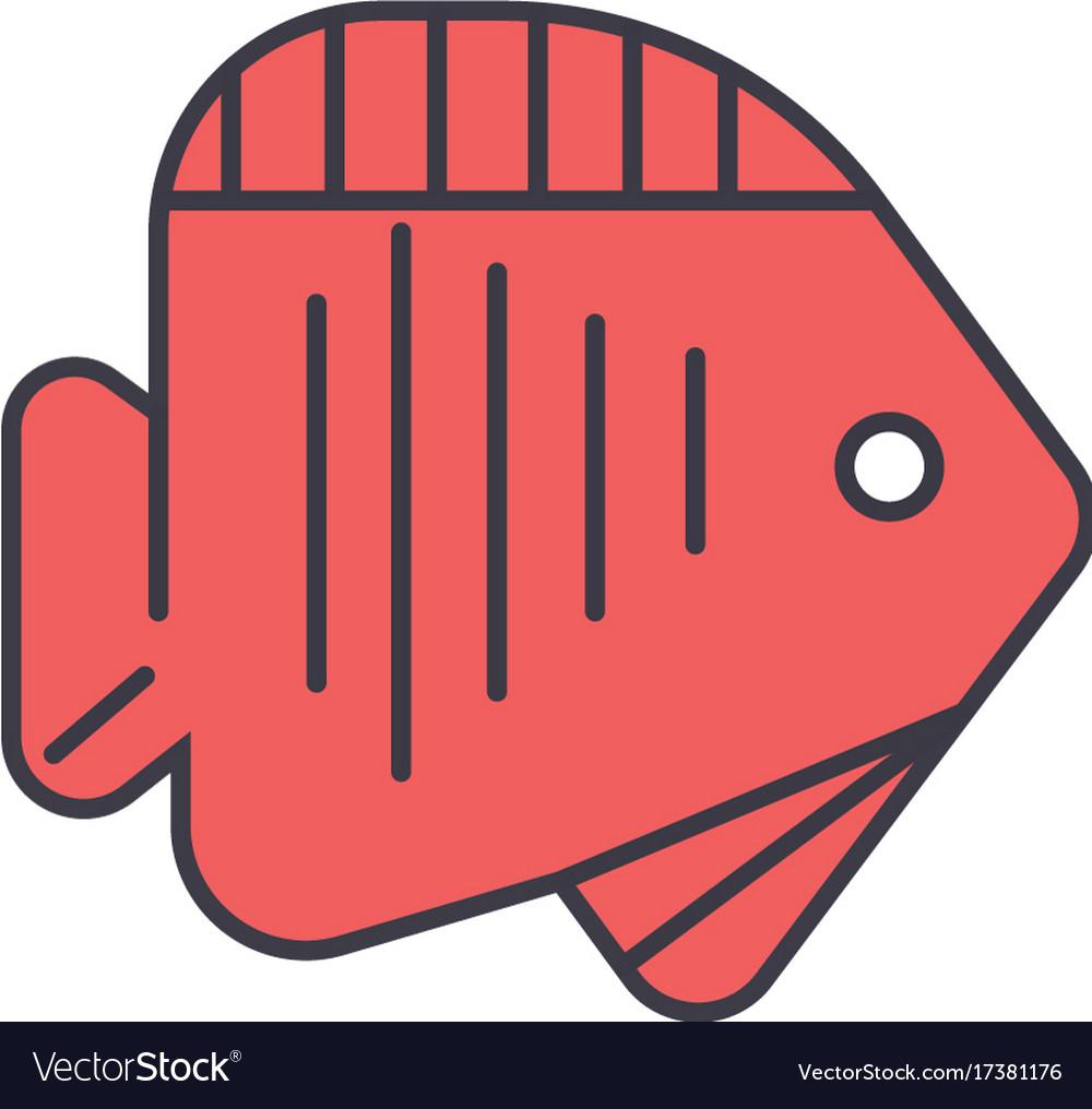 Fish tropical flat line concept vector image