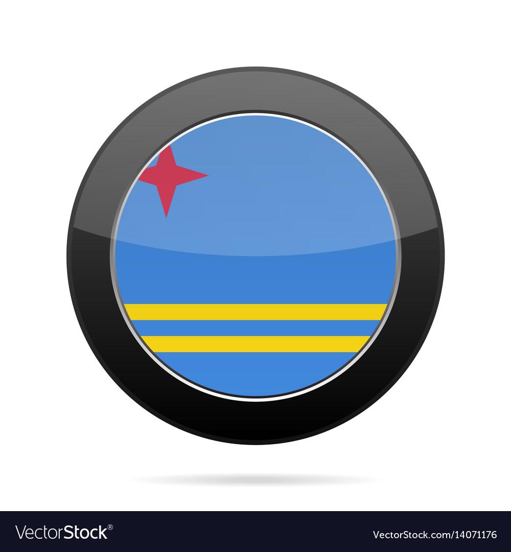 Flag of aruba shiny black round button
