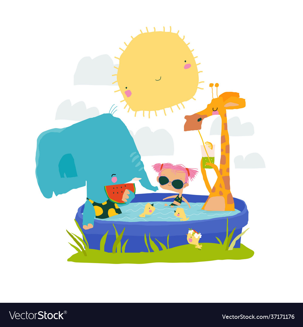 Happy animals and girl relaxing in swimming pool