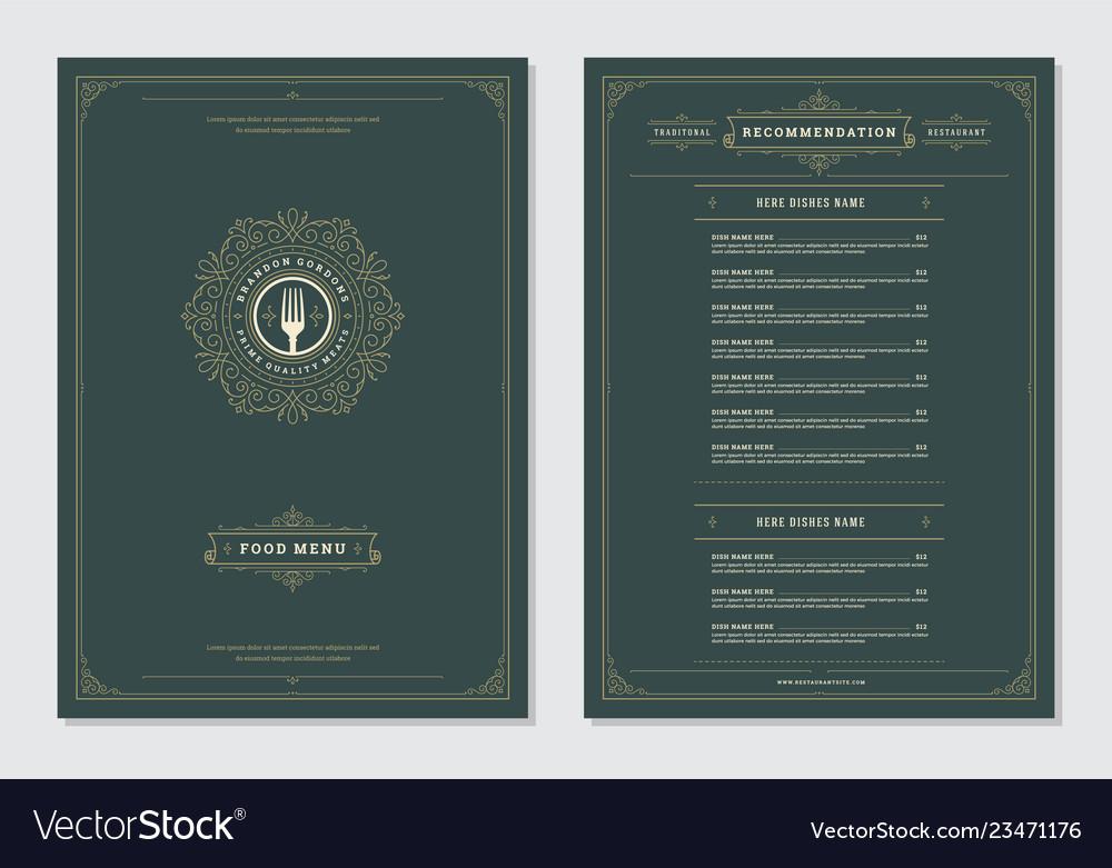 Restaurant menu design and label brochure