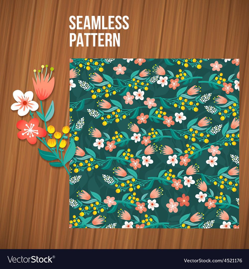 Seamless flower pattern set summer tiny floral