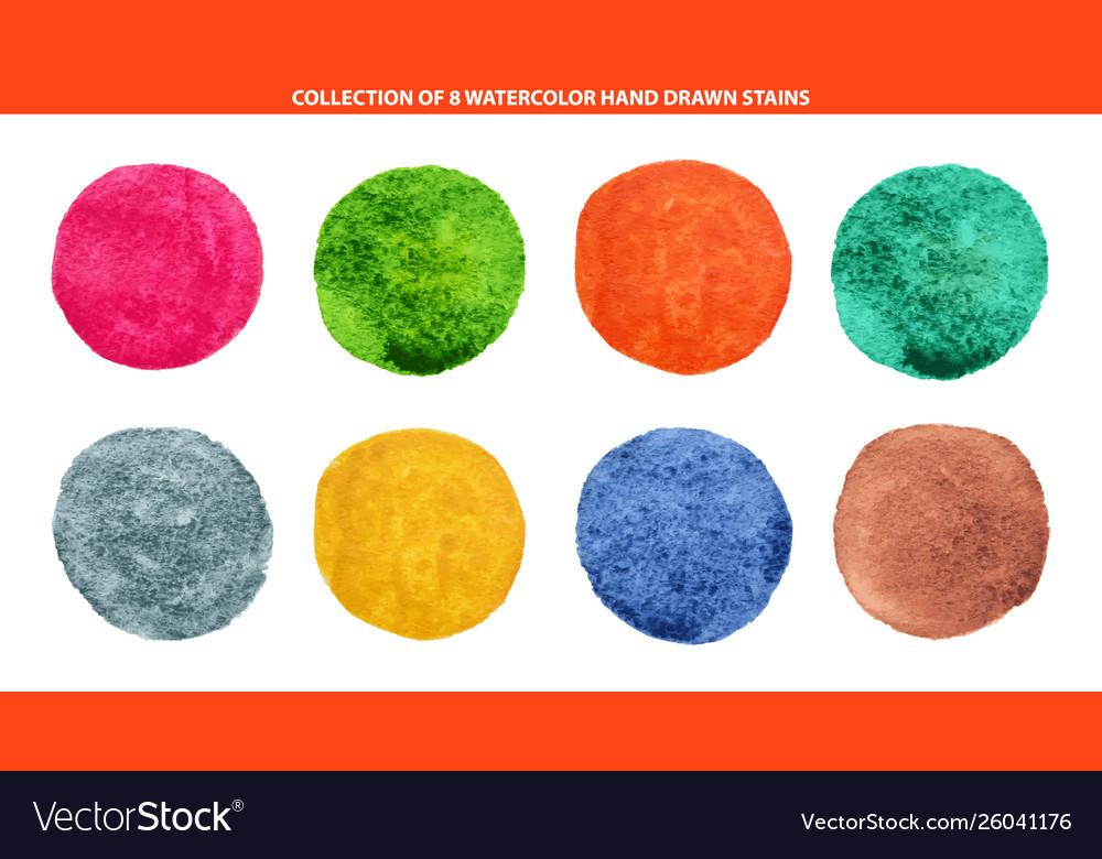 Set 8 multicolor watercolor hand drawn circles