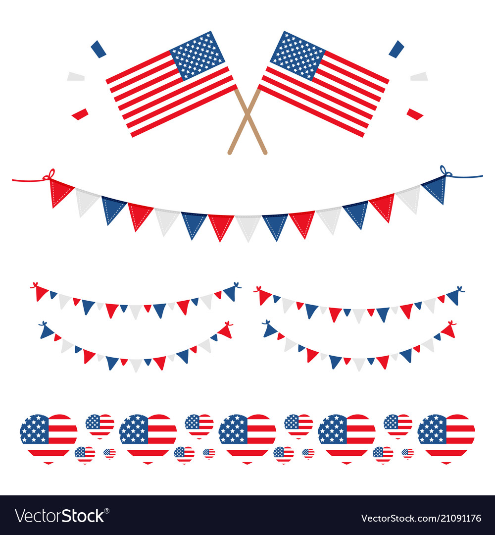 Set collection of american usa flags and ribbons