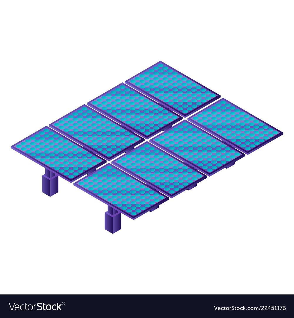 Solar panel plant icon isometric style