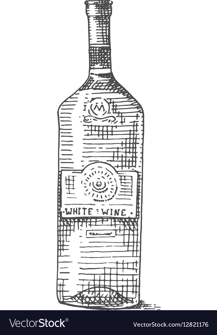 Wine bottle hand drawn engraved old looking