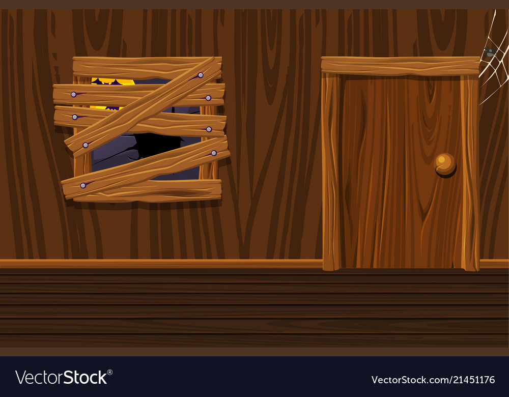 Wooden house interior room with old