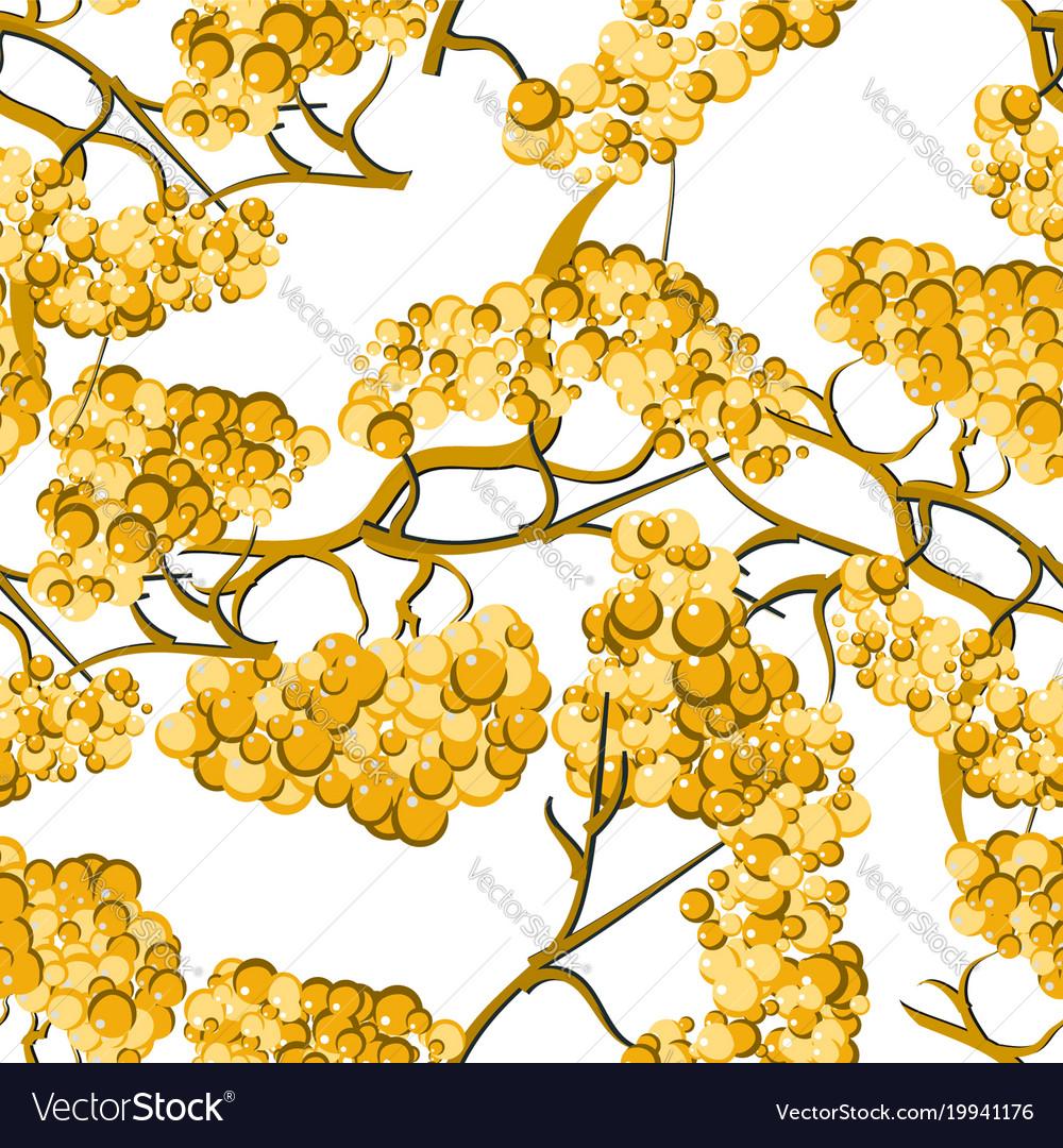 Yellow rowan seamless pattern