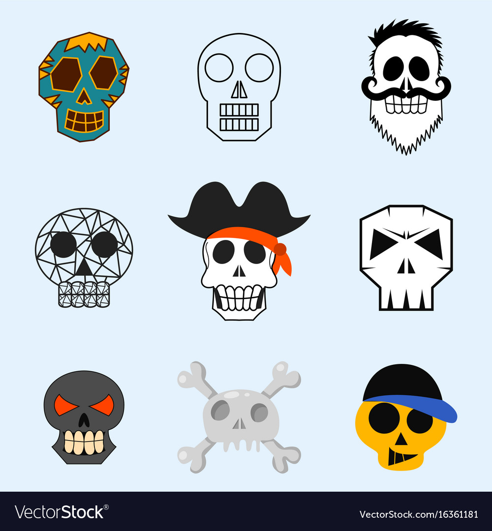 Different style skulls faces