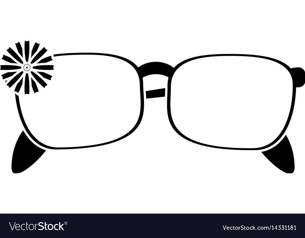Female glasses flower decorative pictogram