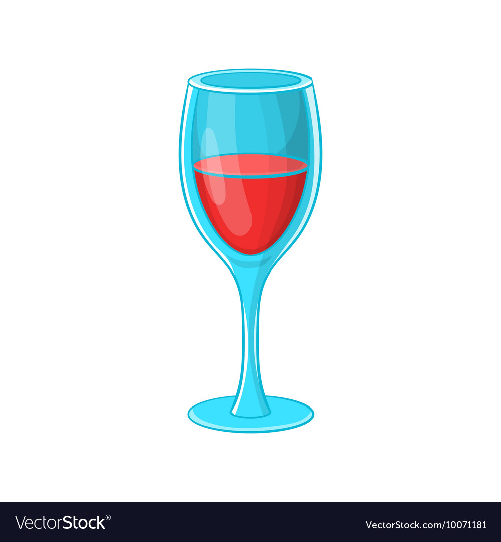 Glass of red wine icon cartoon style