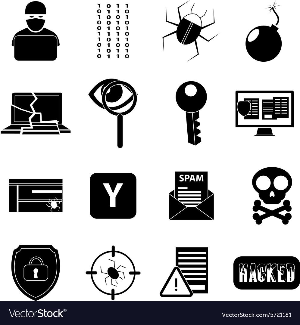 hacker icons set royalty free vector image vectorstock vectorstock