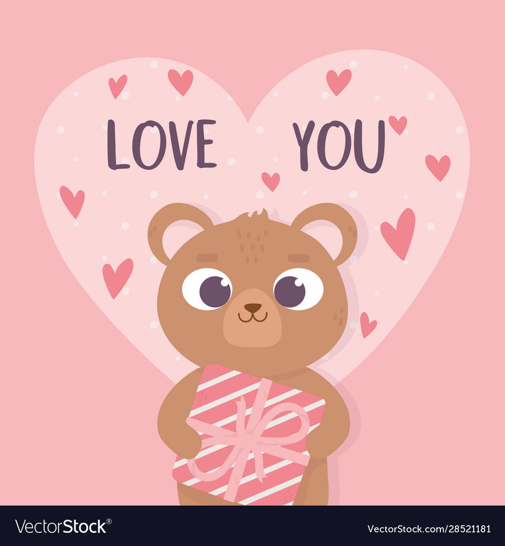 Happy valentines day cute bear holding gift box