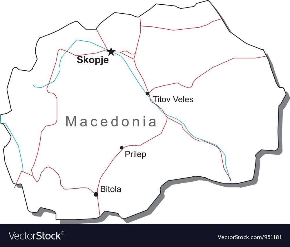 Macedonia Black White Map
