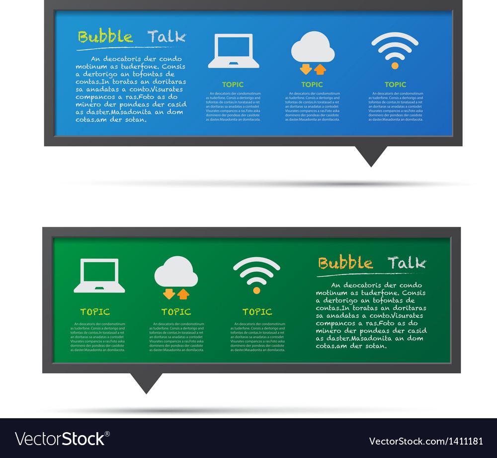 Network icon and 3D bubble talk blackboard