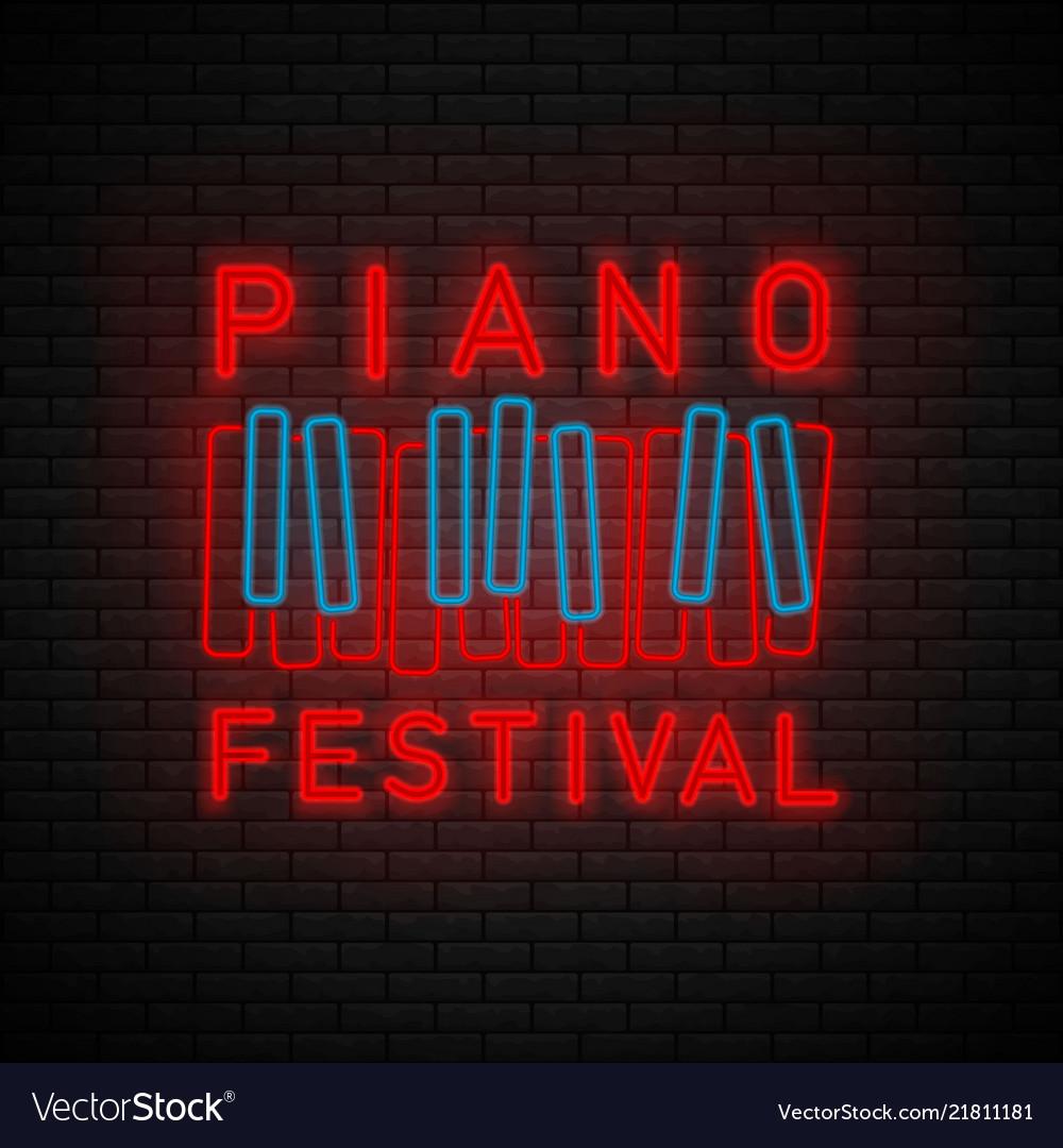 Piano symbol neon