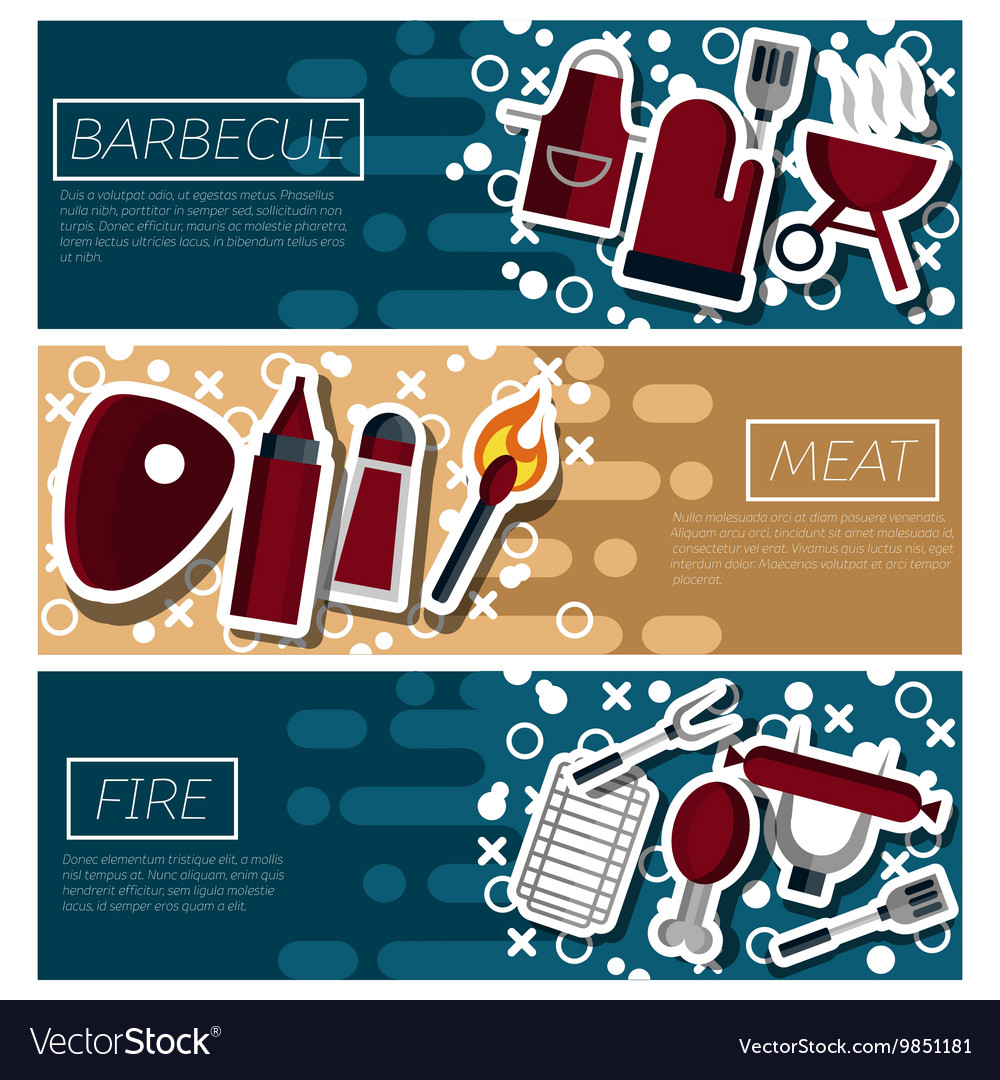 Set of Horizontal Banners about Barbecue vector image