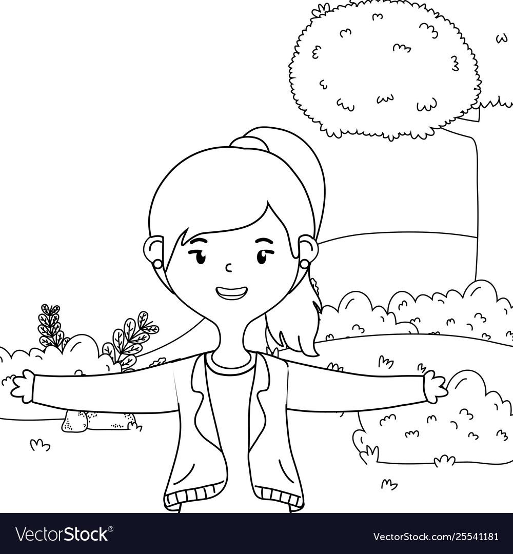 Teenager girl cartoon design