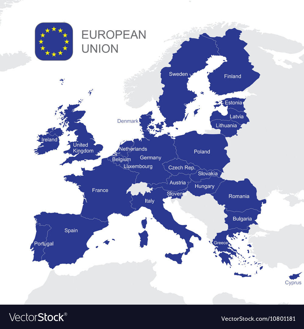 the european union map royalty free vector image