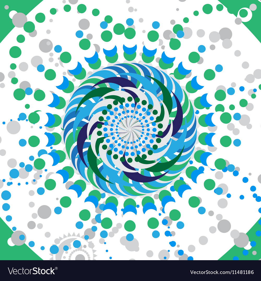 Abstract flower mandala Blue and green
