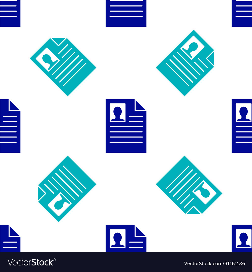 Blue Resume Icon Isolated Seamless Pattern On Vector Image