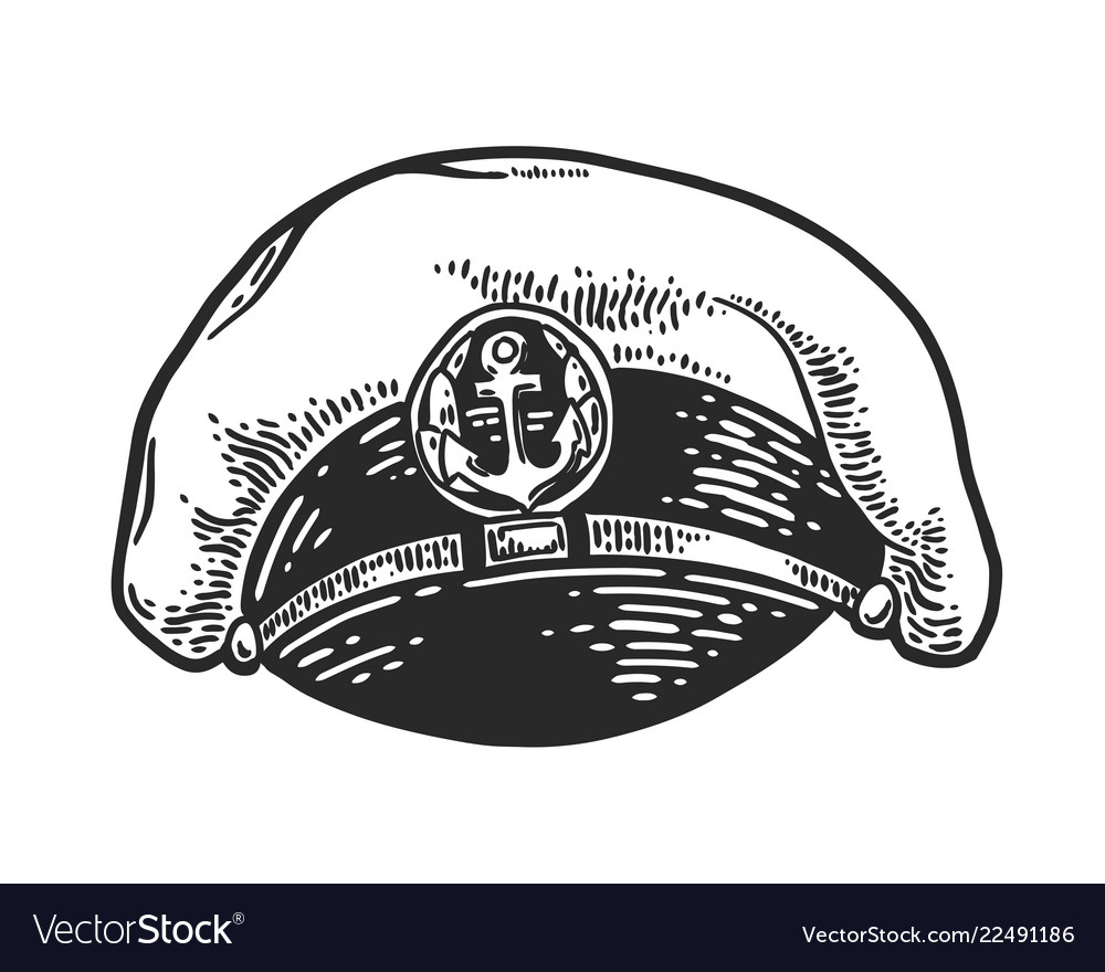 Captain hat engraving vector