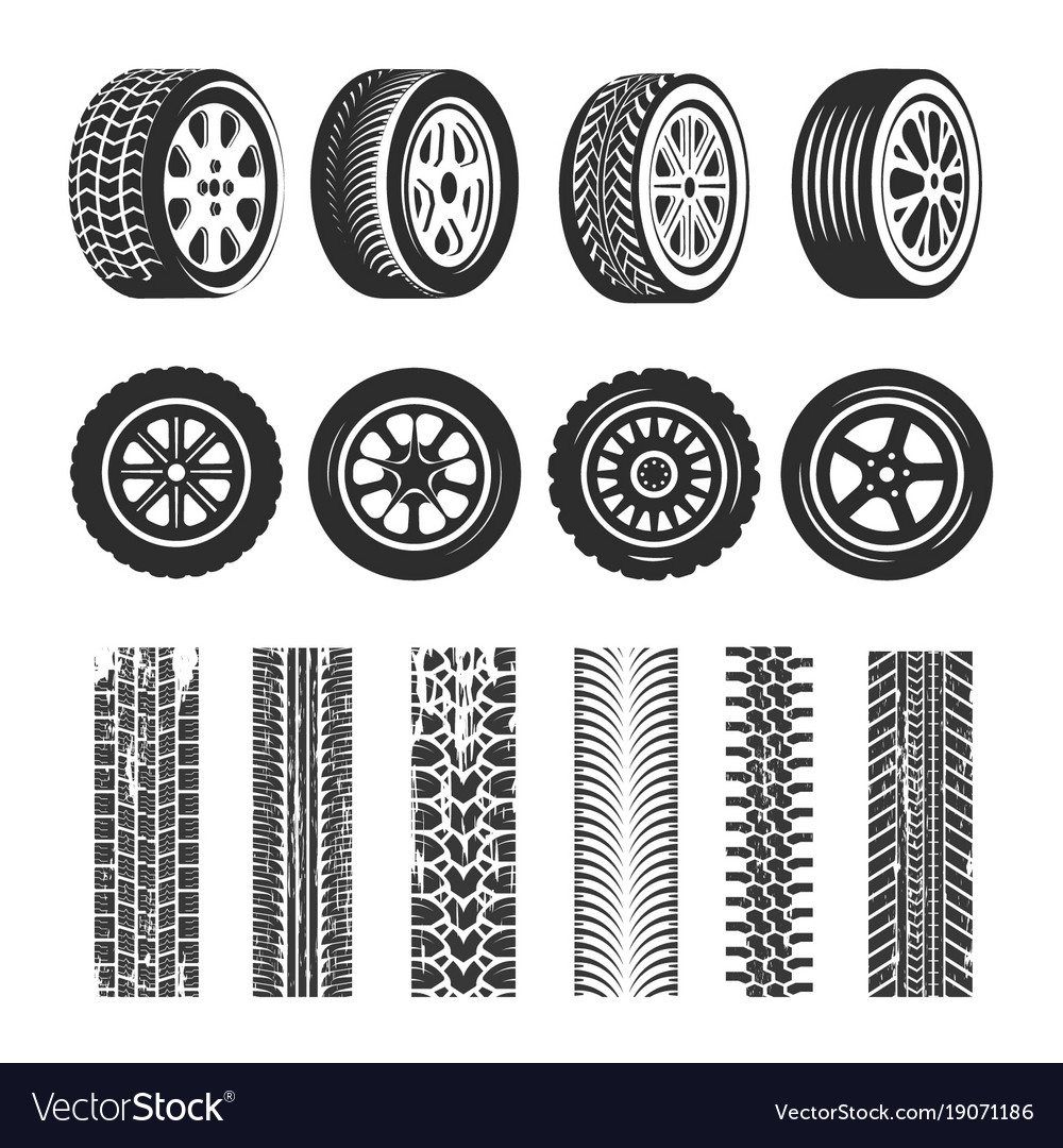 Car tires and track traces isolated icons