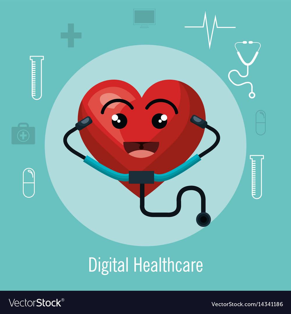Cardiology digital healthcare medical isolated