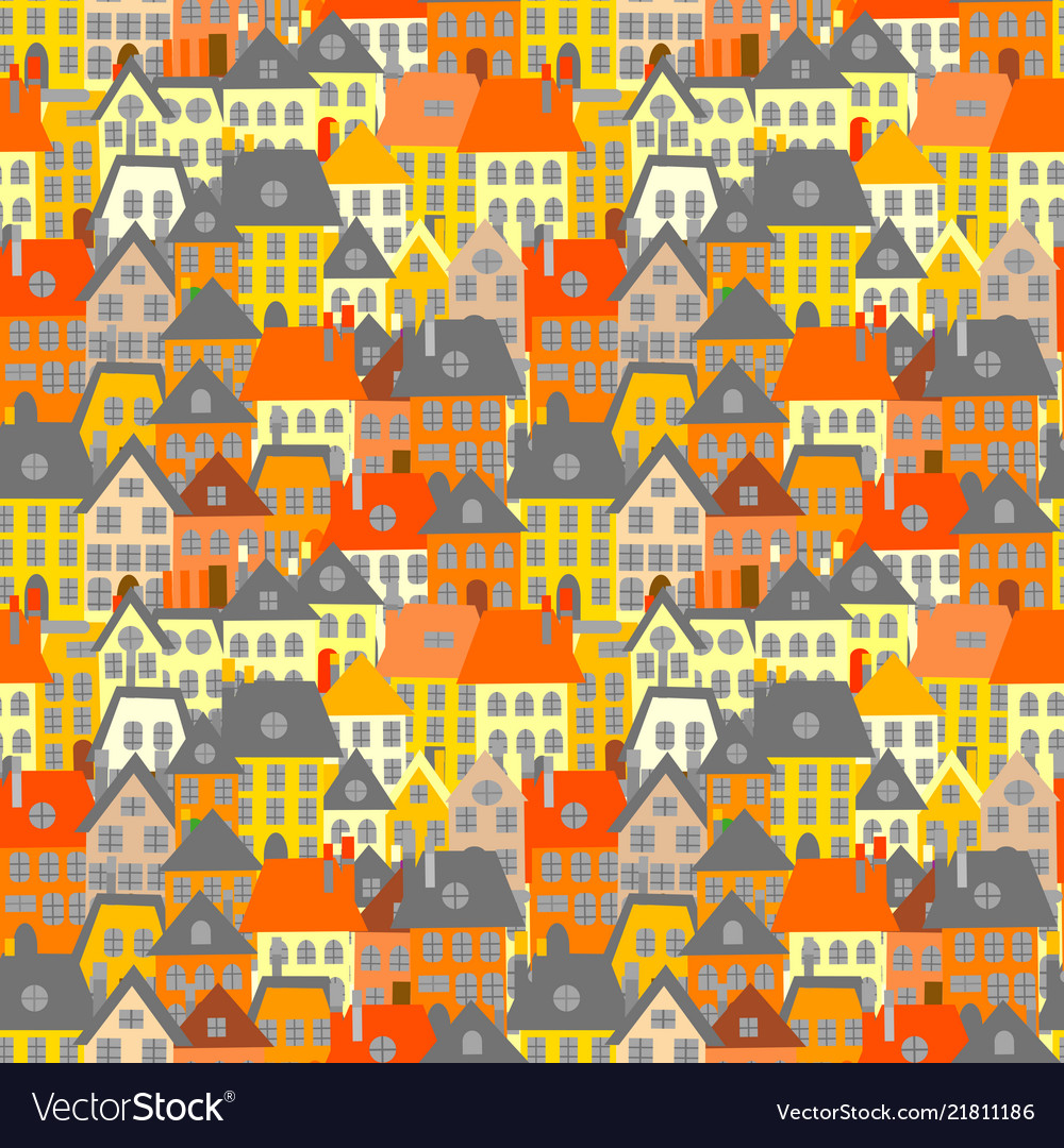 Cartoon houses seamless background village