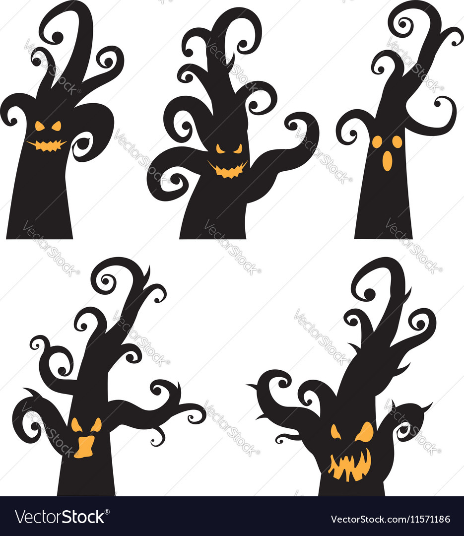 Crooked Spooky Trees vector image
