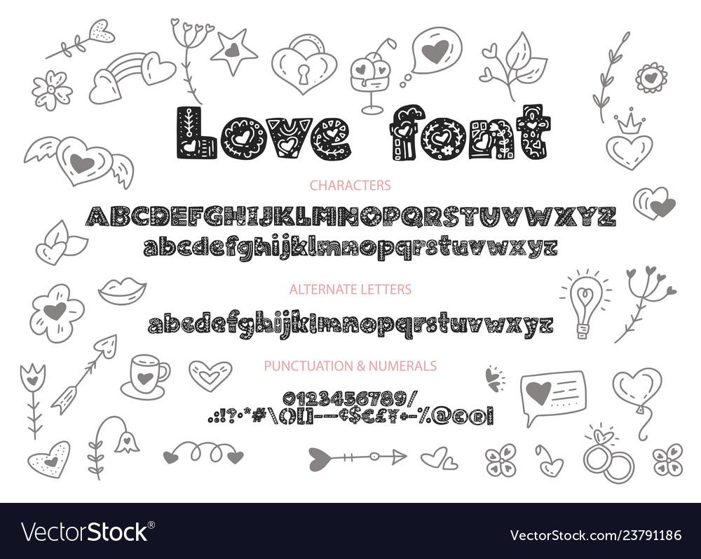Decorative valentines display font