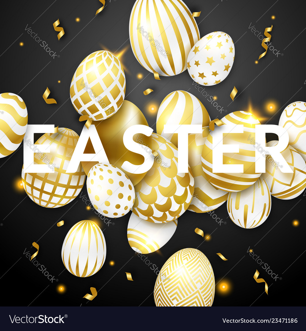 Easter black background with realistic golden