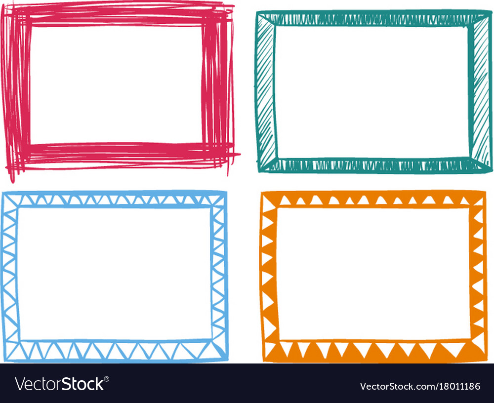 Four frames in different colors Royalty Free Vector Image