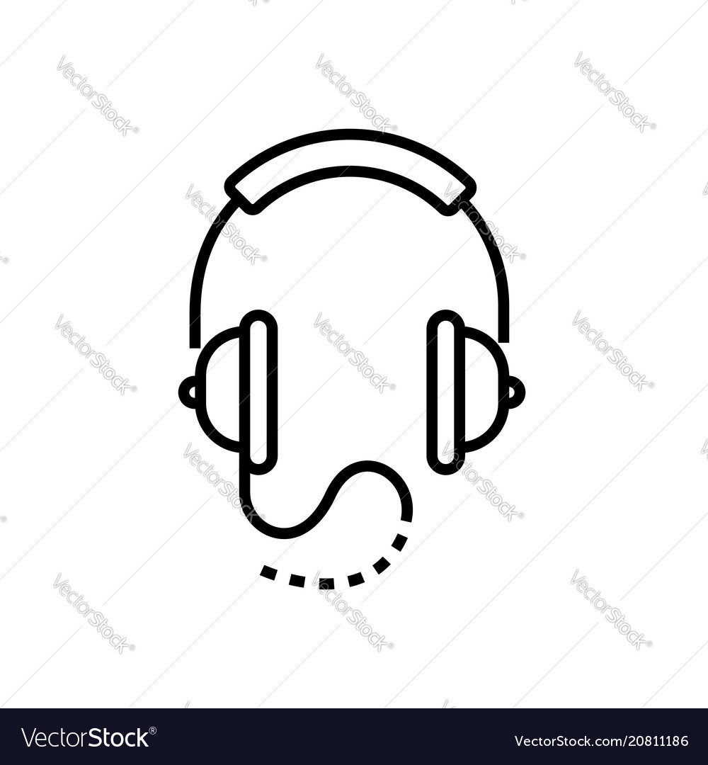Headphones - line design single isolated icon