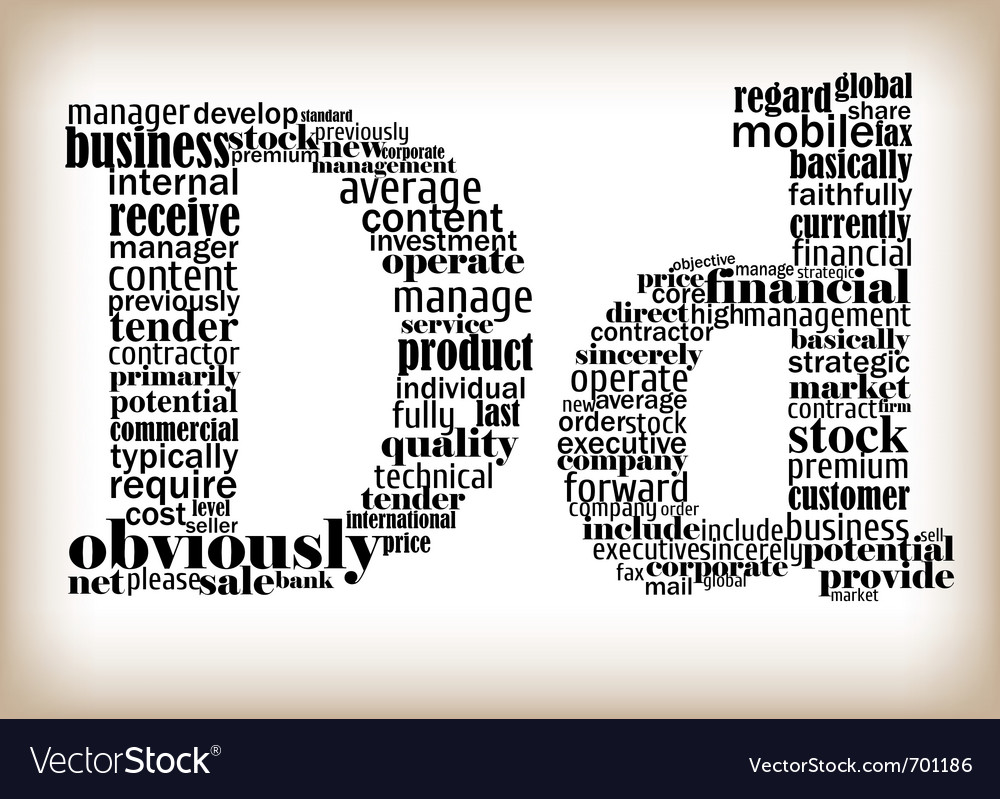 letter d filled by business words vector image