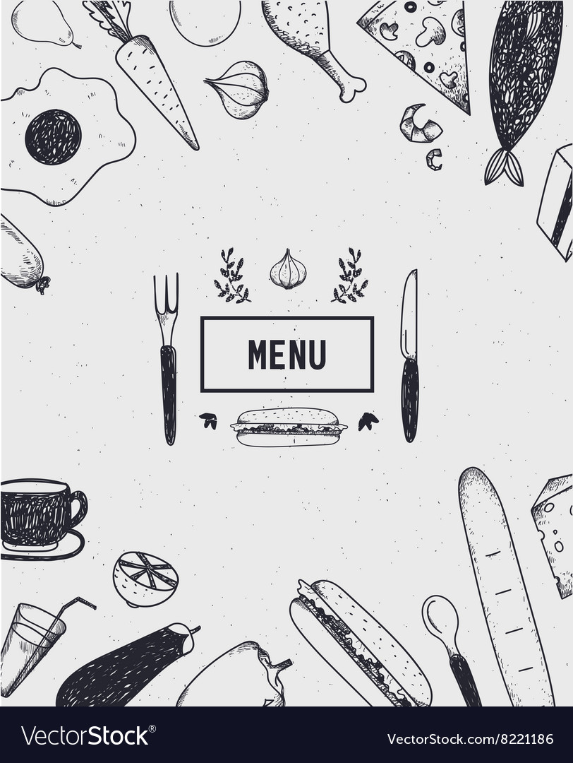 Menu cover with hand drawn food Black and white