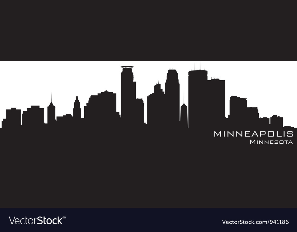 Minneapolis Minnesota skyline Detailed silhouette