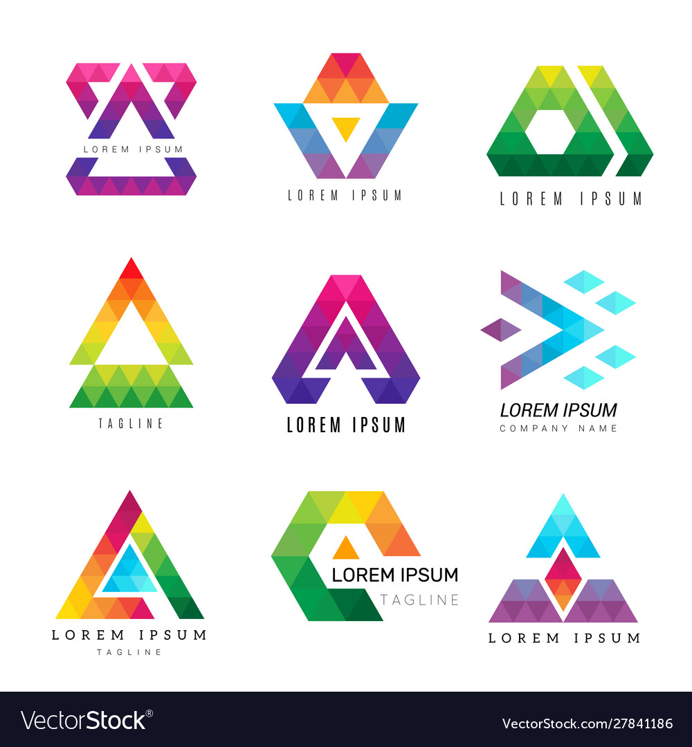 Polygonal triangle logo business colored identity