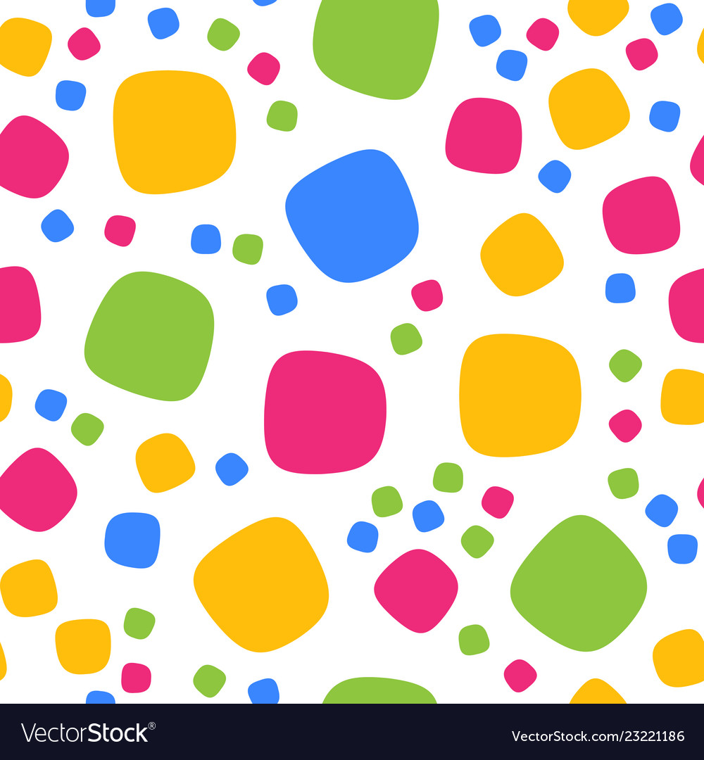 Seamless pattern with colorful squares and dots
