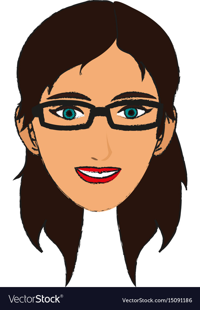 Silhouette face girl cartoon draw vector image