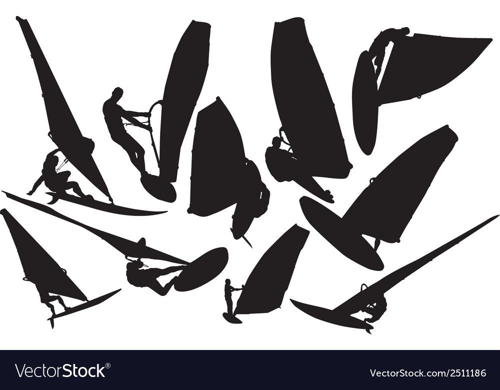 Windsurfing silhouette vector image