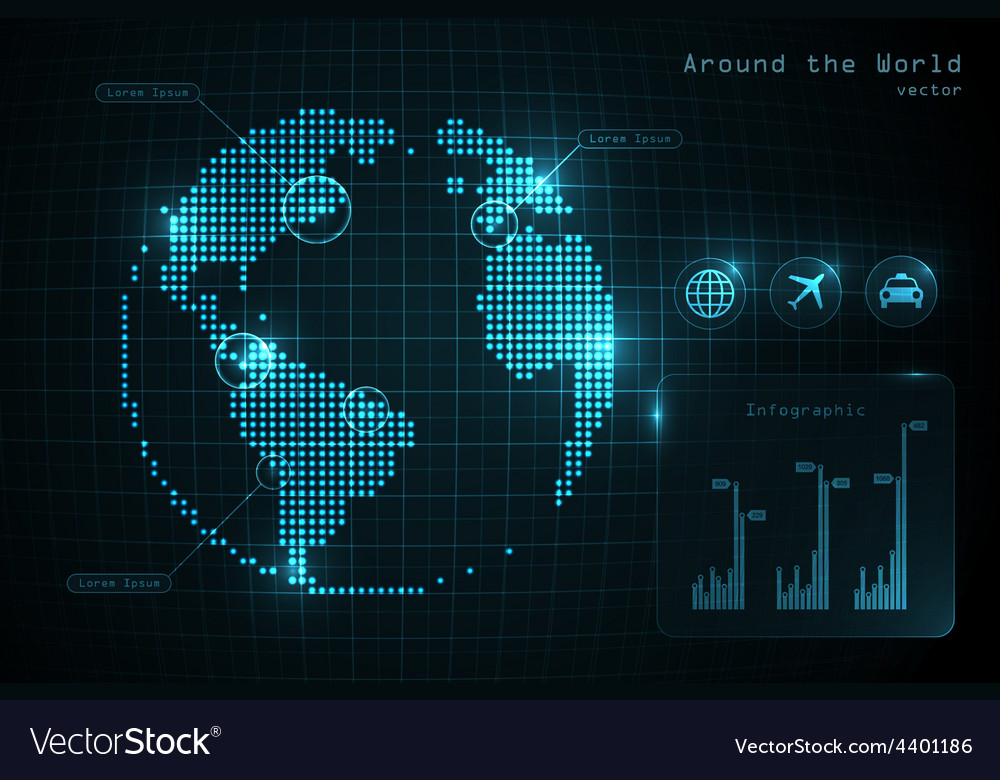 World globe infographic with icons and diagrams