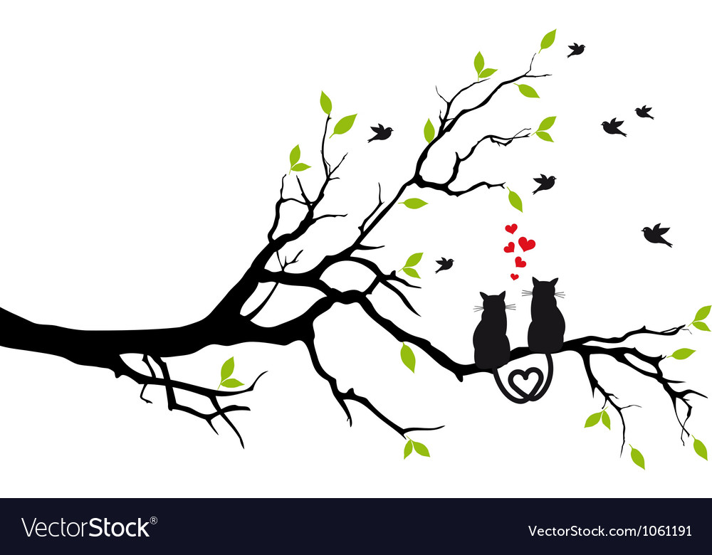 Cats in love on tree
