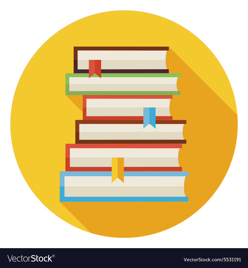 Flat Books with Bookmarks Circle Icon with Long