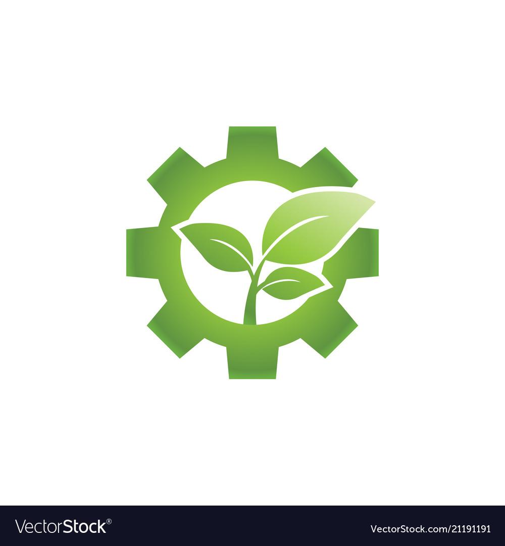 Go Green Leaf And Gear Industrial Logo Design Vector Image